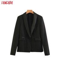 Tangada mode femme blazer noir manches longues costume travail dame de bureau de poche manteau rétro femme vêtements hauts élégant SL312