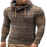 men' s spring two tone Sweater Pullover Men Knitting Hoo...