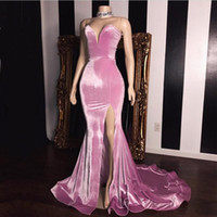 Pink Velvet Mermaid Prom Dresses Sweetheart 2019 Simple Fashion Girl Pageant Dresses Side Split Floor Length Vestidos de noche Envío gratis