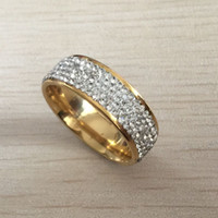 뜨거운 판매 316L 스테인레스 스틸 골드 화이트 다이아몬드 여성 애호가를위한 결혼 반지 크리스탈 약혼 반지 무료 배송