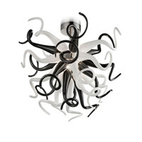 100 % 핸드 블로우 유리 샹들리에 램프 거실 홈 장식 LED 펜던트 조명 흑백 현대 천장 조명