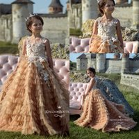 2019 Princess Flower Girls' Dresses Tiered Skirts Sleev...