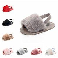 Baby Girls Mur Sandals Мода дизайн Младенческие меховые тапочки теплые мягкие детские домашние туфли дети малыш сплошной цвет