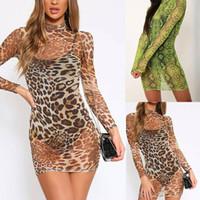 섹시한 여성 표범 뱀 인쇄 메쉬 쉬어 긴 소매 짧은 캐주얼 드레스