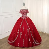 Luxury Sliver Embroideried Burgundy Quinceanera Prom Dresses...