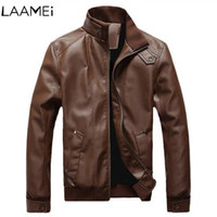 Jaqueta de couro dos homens Laamei Streetwear Mens jaquetas e casacos locomotiva retro homens Veste Homme jaqueta de couro Deri Mont Erkek SH190906