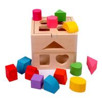 13 개 홀 지능 상자 모양 분류기인지와 일치하는 나무 빌딩 블록 아기 어린이 어린이 교육 장난감 선물