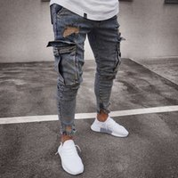 Multi bolsillo Moda Hombres Ripped Skinny Jeans Destroyed Frayed Slim Fit Denim Pant casual hombres slim hole Zipper balck jeans pantalones