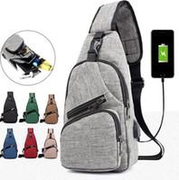 Çanta Çocuk Yetişkin Çantalar KKA7919 Şarj Liman Spor Crossbody Omuz Moblie Telefon Şarj Erkekler USB Göğüs Çanta Omuz Paketi USB