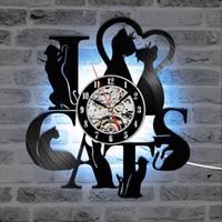 Chats Enregistrement Horloge murale Vintage LED Horloge en vinyle Kitten Art silencieux unique décoratif Horloge murale 3D Hanging CD Horloges 7 Chats