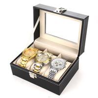 Fibra de carbono Cuero de la PU 3 Rejillas Reloj de joyería Exhibición Almacenamiento Cajas de regalo Cilindro Color negro