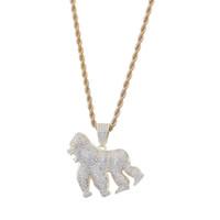 Collana con pendente a forma di gorilla placcato oro 14K, con pendente, per tutti gli zirconi