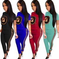 Women Fashion Tracksuit F Letter Printed Sweatsuit Short Sle...