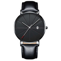 Quartz Wristwatches Watch Men Leather Strap Simple Mens Watc...