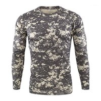 Mens Tees Casual Long Sleeve Camouflage Print Males Clothing Mens Designer Sport Tshirts Fashion Slim Pullover Crew Neck