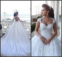 New Saïd Cathédrale Mhamad train de luxe robes de mariée bal Robes arabe Dubai Robe de Novia avec perles Fleurs Floral 3D Robes de mariée