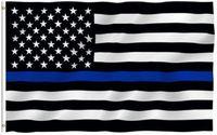 Bandeiras Bandeira Thin Blue Line 3x5ft EUA Nacional 90 * 150cm Bandeira americana Linha Vermelha Azul Bandeira Parade Flags poliéster Party Supplies Flag