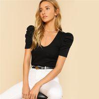 Puff Sleeve Rib Knit T-Shirt 2018 Sommer V-Ausschnitt Kurzarm T-Shirt Damen Schwarz Baumwolle Elegant Slim Fit Stretchy Regular Tops