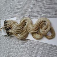Micro bucle extensiones del pelo onda del cuerpo de grano micro humano de Remy del pelo virginal peruano 1G / 1S Micro Link extensiones de cabello