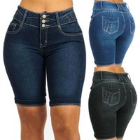 GAOKE knielangen Jeans-Shorts Damen Push-Up-elastische hohe Taille Biker Shorts Jean Shorts Frauen-Sommer 2020 Schwarz Street Y200509