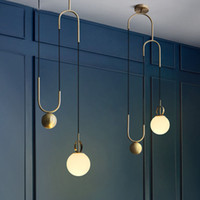 Pulley pendant lamps restaurant pendant light designer creative personality bar gold lifting glass ball pendant lights gold lamp