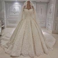 2019 년 빈티지 A 라인 웨딩 드레스 아첨이 긴 소매 럭셔리 공 가운 신부 드레스 교회 웨딩 드레스 사용자 정의 플러스 크기