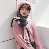 2019 Autumn Winter Female Plaid Wool Scarf Fashion Casual Sc...