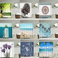 Design elegante Sólido Poliéster Banho cortina de chuveiro à prova d'água com ganchos AU