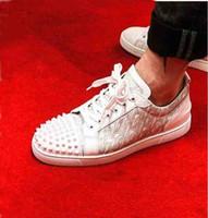 Tasarımcı Erkekler Flats Trainer Genç Dikenler Orlato Ayakkabı kırmızı Alt Sneaker Dantel-up Kristal Gerçek Deri Elbise Parti Düğün Ayakkabı Kırmızı Taban