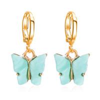 6 colore coreano farfalla ciondola l'orecchino di gioielli Luscious Boho goccia acrilica donne di colore di modo orecchini Mujer Gifts EJJ151 all'ingrosso