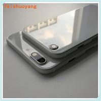 Pour iPhone 7 7g 7 plus boîtier arrière pour iPhone 8 Style de Métal Verre Noir Plein Blanc Rouge Noir arrière couverture Comme 8 Plus 8+
