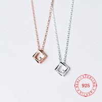 Fashion 925 Sterling Silver Square Pendant Necklaces For Women White Zircon Charms Geometric Rose Gold Elegant Necklace Mix Design Wholesale