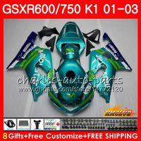 8ギフトボディfor Suzuki GSXR600 GSX R750 K1 GSXR-600 GSX-R750 4HC.29 GSXR750 GSXR 600 750 01 02 2003 2003 2003 2003 Movistar Green Fairing Kit