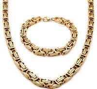 Новые мужские 18K позолоченный из нержавеющей стали широкое византийское ожерелье браслет