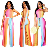 1462c7df93b0 New Arrival. Women Rainbow Changing Color Stripe Loose Jumpsuit Sexy  Bodysuit Sleeveless Halter Casual Summer Beach Romper ...