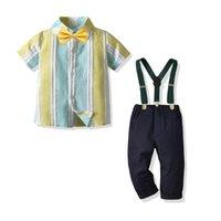 adaptarse a la versión coreana del verano Los juegos de la boda del muchacho de los niños ropa para niños pequeños para niños juego formal de los niños del desgaste de la blusa El traje de corbata 2pcs muchachos de los sistemas