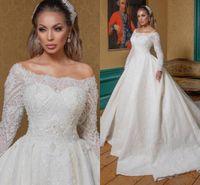 Урожай белый с плеча мусульманское свадебное платье из бисера Арабский Дубай Люкс с длинными рукавами онлайн плюс размер свадебное платье