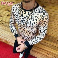 2018 Moda marca de ropa informal de fitness 4 colores del leopardo del cuello de O Hombres: Hombre de la camiseta M-3XL Dropshipping
