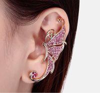 Elmas küpe dolu kelebek elf Kulak Manşet Yok deldi kulak klipsi asılı küpe moda takı küpe kulak manşet DHL ücretsiz