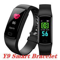 Presión inteligente reloj Y9 Control de actividad de la banda de fitness pulsera monitor de ritmo cardíaco sangre SmartWatch de correas para Android IOS móvil inteligente