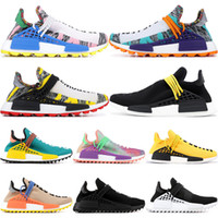 2019 Human Race Hu Trail X Pharrell Williams Hombres Zapatillas para correr Paquete solar Afro Holi Zapatillas de lona en blanco Zapatillas de deporte deportivas para mujer EE.