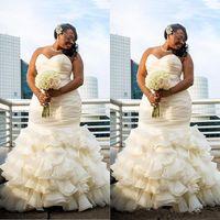 2019 플러스 크기 두바이 아랍어 아랍어 간단한 웨딩 드레스 인어는 드레이프 로브 드 결혼 연인 긴 바닥 길이 신부 가운