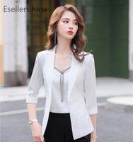 Abiti da donna Blazers 2021 Primavera Estate Mezza manica Stili di moda per le donne Business Lavoro Abbigliamento Ladies Office Outwear Professional Outwear Tops