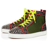 20S Nuovo pattini inferiori rossi High Top Sneakers Uomo Donna, suole rosse Junion Rivetti Ac Spikes Orlato Seavaste 2 Appartamento Mesh Tainbow Luminous