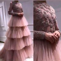 Blush Pink Mangas largas Vestidos de noche musulmanes 2019 Elegante de tul largo con gradas Mujeres árabes Vestido de fiesta formal Vestidos de novia nupciales de Dubai