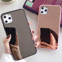 100 pcs caso de caso de moda casos de moda cor puro espelho espelho macio shatter-resistente para iphone 6s 7 8 xr xs 11 pro max plus protetor