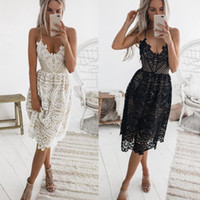 Сексуальное вечернее платье женщины лето глубокий V-образным вырезом спинки кружевные платья мода рукавов Холтер бандаж миди платье #BF