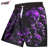 UJWI Board Shorts Hommes À Séchage Rapide Polyester Cool Imprimer Violet Cassé Crâne Shorts Casual Hommes Hip Hop Streetwear Pantalon Court