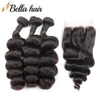 브라질 헤어 레이스 묶음 묶음 레미 인간의 머리카락 폐쇄 루즈 웨이브 3PC + 1PC 자연 색상 8-26 인치 Bellahair