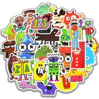 50 PCS Waterproof monstro Doodle adesivos divertidos pequeno robô Decal Sticker Toys presente para as crianças DIY Laptop Frigorífico Suitcase Skate Car
